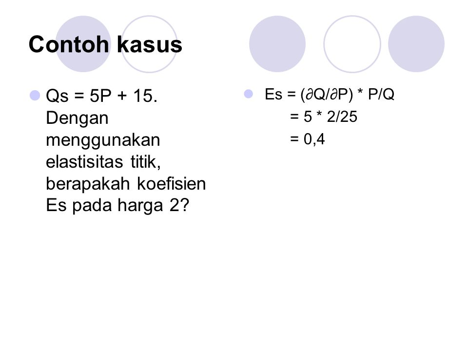 Contoh kasus Qs = 5P + 15. Dengan menggunakan elastisitas titik, berapakah koefisien Es pada harga 2