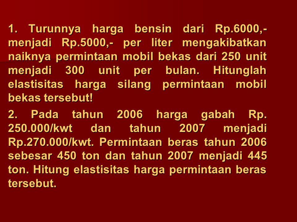 1. Turunnya harga bensin dari Rp. 6000,- menjadi Rp