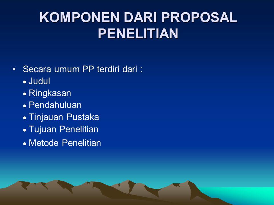 KOMPONEN DARI PROPOSAL PENELITIAN