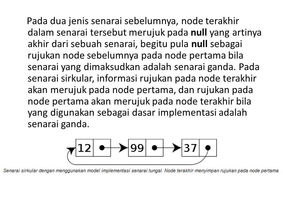 Pada dua jenis senarai sebelumnya, node terakhir dalam senarai tersebut merujuk pada null yang artinya akhir dari sebuah senarai, begitu pula null sebagai rujukan node sebelumnya pada node pertama bila senarai yang dimaksudkan adalah senarai ganda.