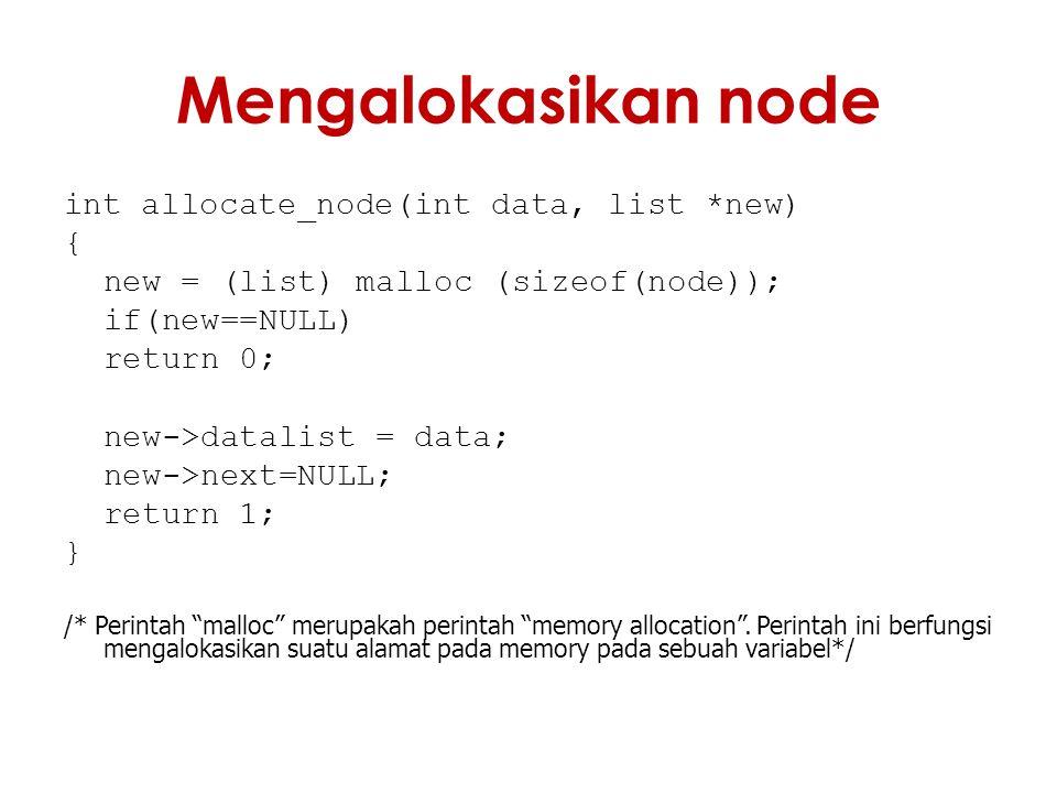 Mengalokasikan node int allocate_node(int data, list *new) {