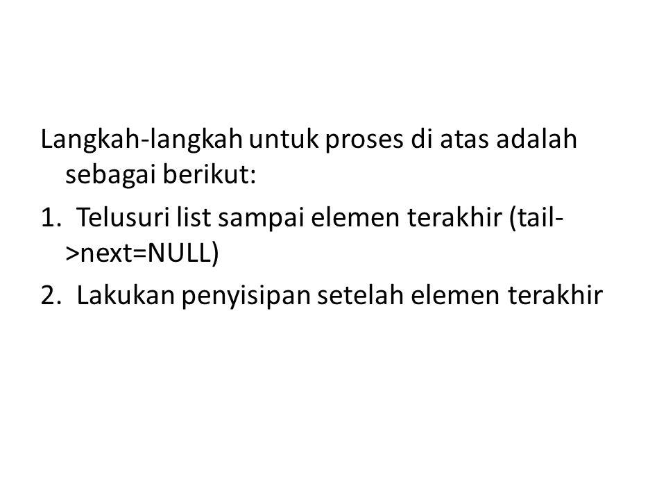Langkah-langkah untuk proses di atas adalah sebagai berikut: 1