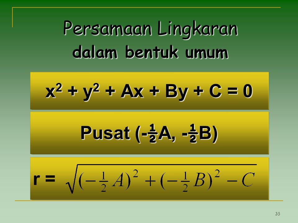 Persamaan Lingkaran x2 + y2 + Ax + By + C = 0 Pusat (-½A, -½B) r =