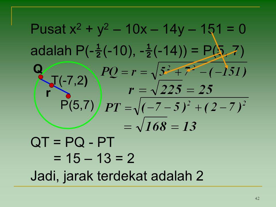 adalah P(-½(-10), -½(-14)) = P(5, 7)