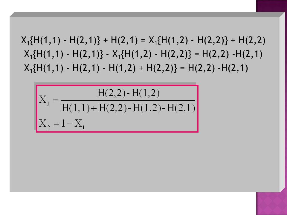 X1{H(1,1) - H(2,1)} + H(2,1) = X1{H(1,2) - H(2,2)} + H(2,2)