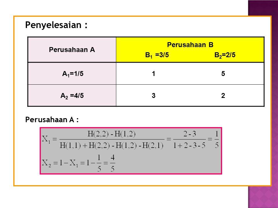 Penyelesaian : Perusahaan A : Perusahaan A Perusahaan B B1 =3/5 B2=2/5