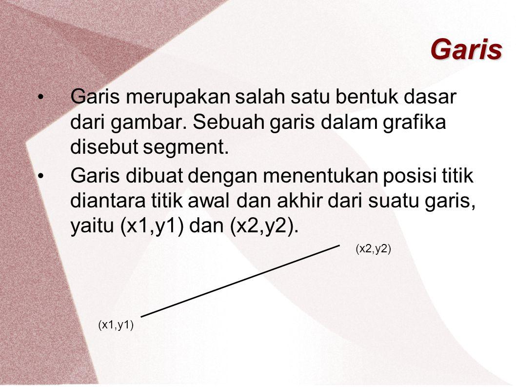 Garis Garis merupakan salah satu bentuk dasar dari gambar. Sebuah garis dalam grafika disebut segment.