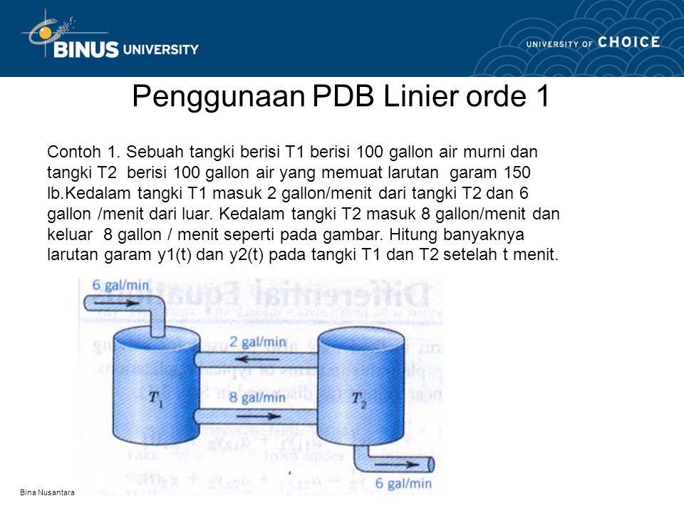 Penggunaan PDB Linier orde 1