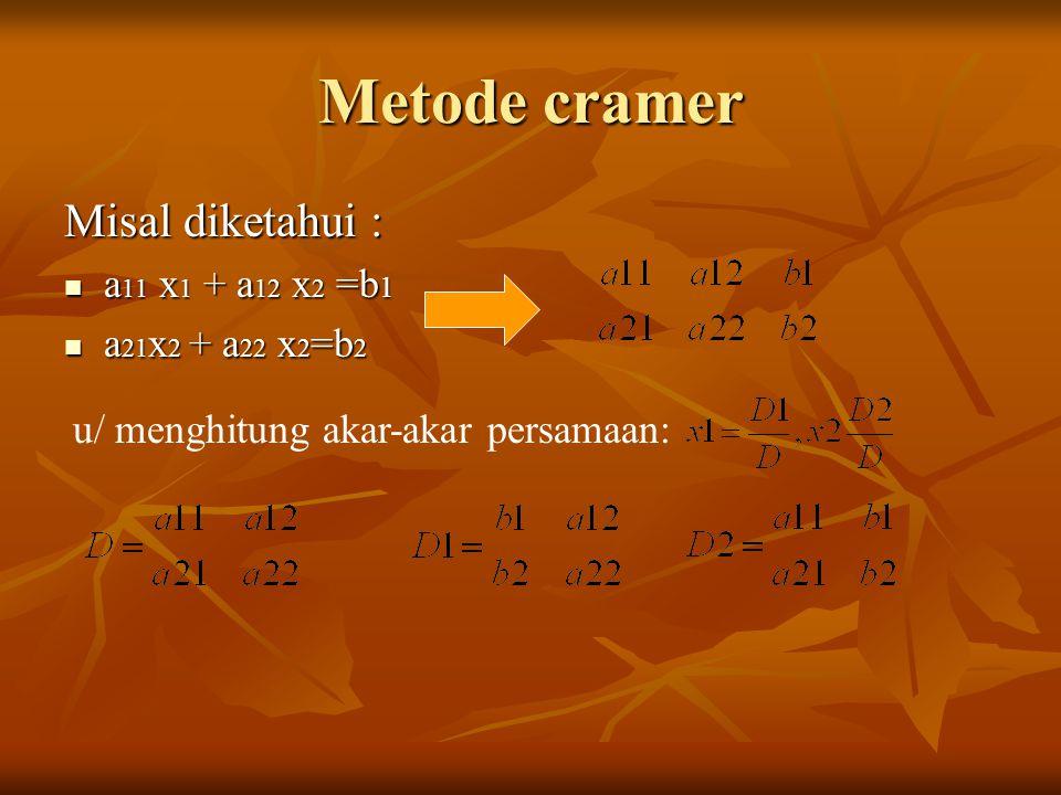 Metode cramer Misal diketahui : a11 x1 + a12 x2 =b1 a21x2 + a22 x2=b2