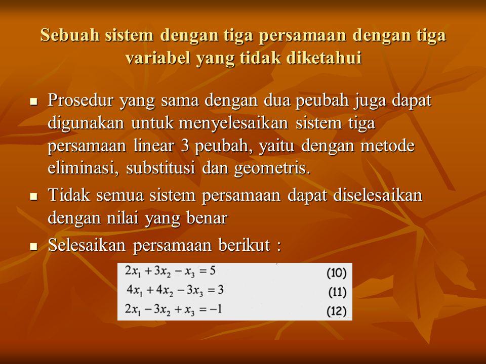 Sebuah sistem dengan tiga persamaan dengan tiga variabel yang tidak diketahui
