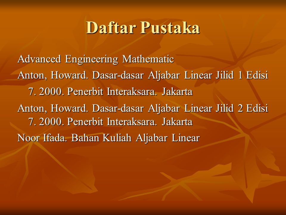 Daftar Pustaka Advanced Engineering Mathematic