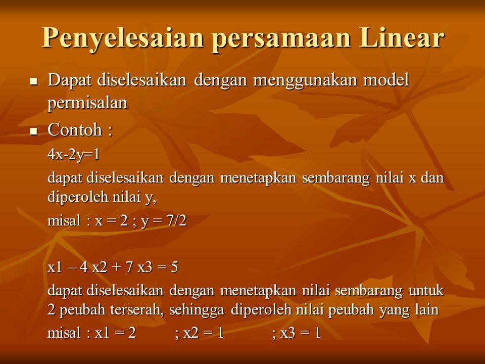Penyelesaian persamaan Linear