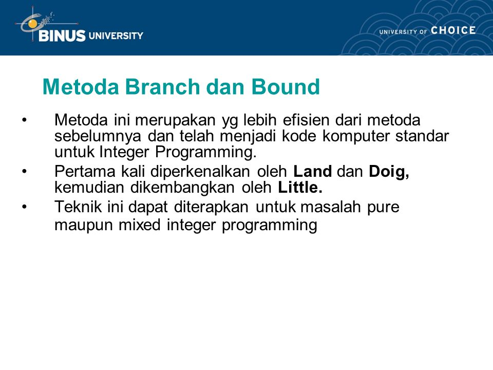 Metoda Branch dan Bound