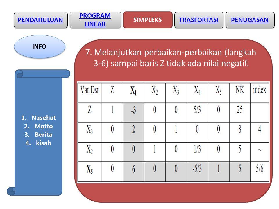 7. Melanjutkan perbaikan-perbaikan (langkah