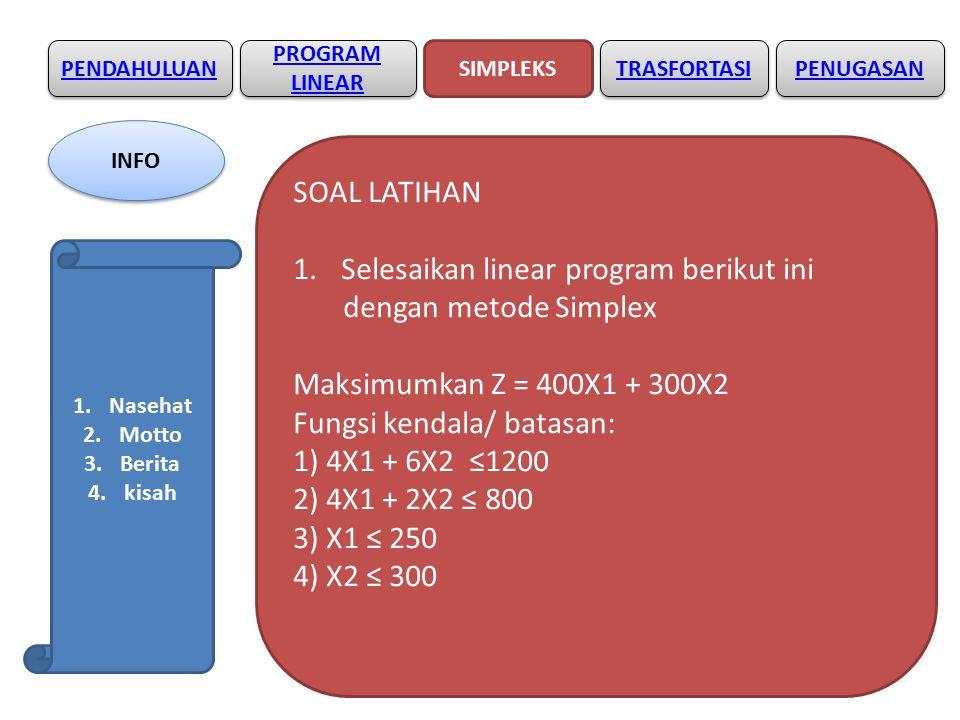 Selesaikan linear program berikut ini dengan metode Simplex