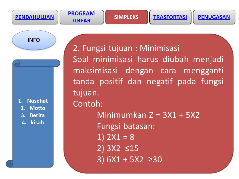 2. Fungsi tujuan : Minimisasi