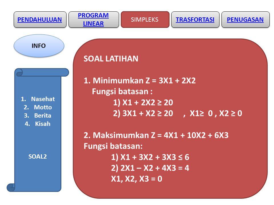 SOAL LATIHAN 1. Minimumkan Z = 3X1 + 2X2 Fungsi batasan :