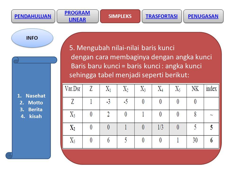 5. Mengubah nilai-nilai baris kunci