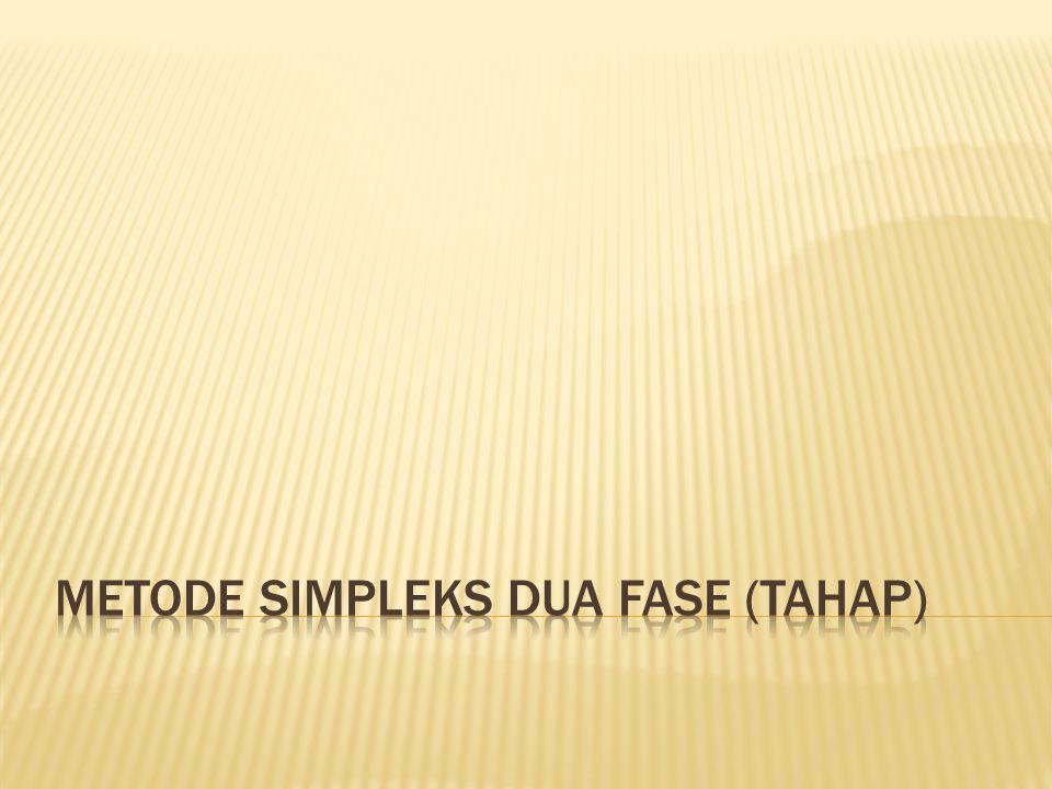 Metode Simpleks Dua Fase (Tahap)