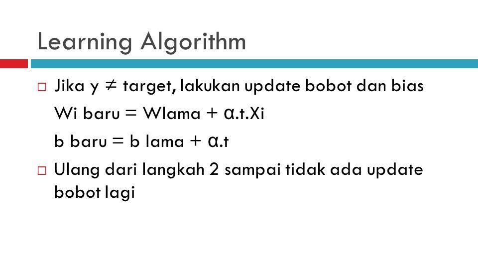 Learning Algorithm Jika y ≠ target, lakukan update bobot dan bias
