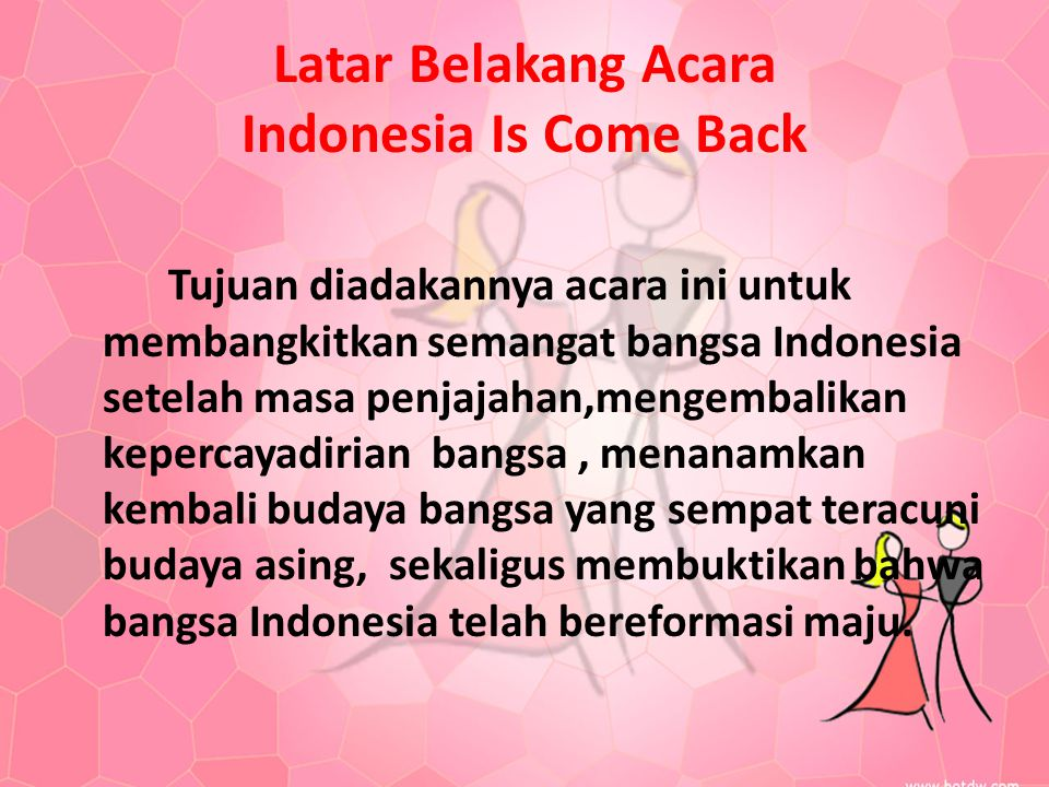 Latar Belakang Acara Indonesia Is Come Back