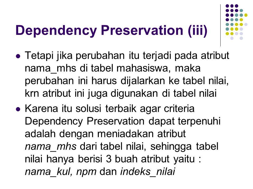 Dependency Preservation (iii)