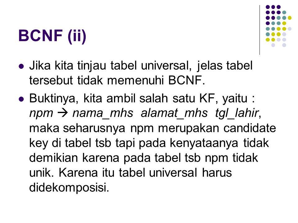 BCNF (ii) Jika kita tinjau tabel universal, jelas tabel tersebut tidak memenuhi BCNF.