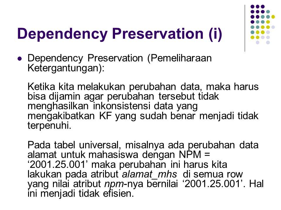 Dependency Preservation (i)