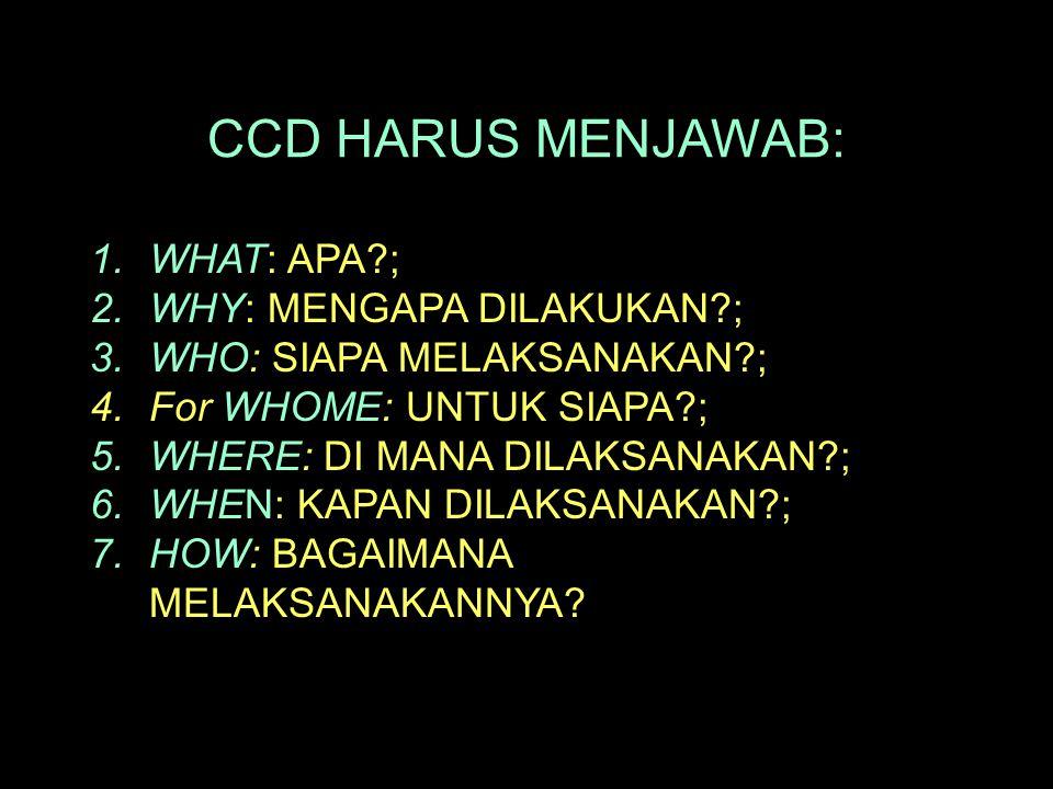 CCD HARUS MENJAWAB: WHAT: APA ; WHY: MENGAPA DILAKUKAN ;
