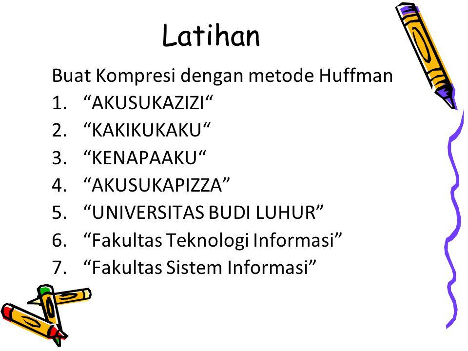 Latihan Buat Kompresi dengan metode Huffman AKUSUKAZIZI KAKIKUKAKU