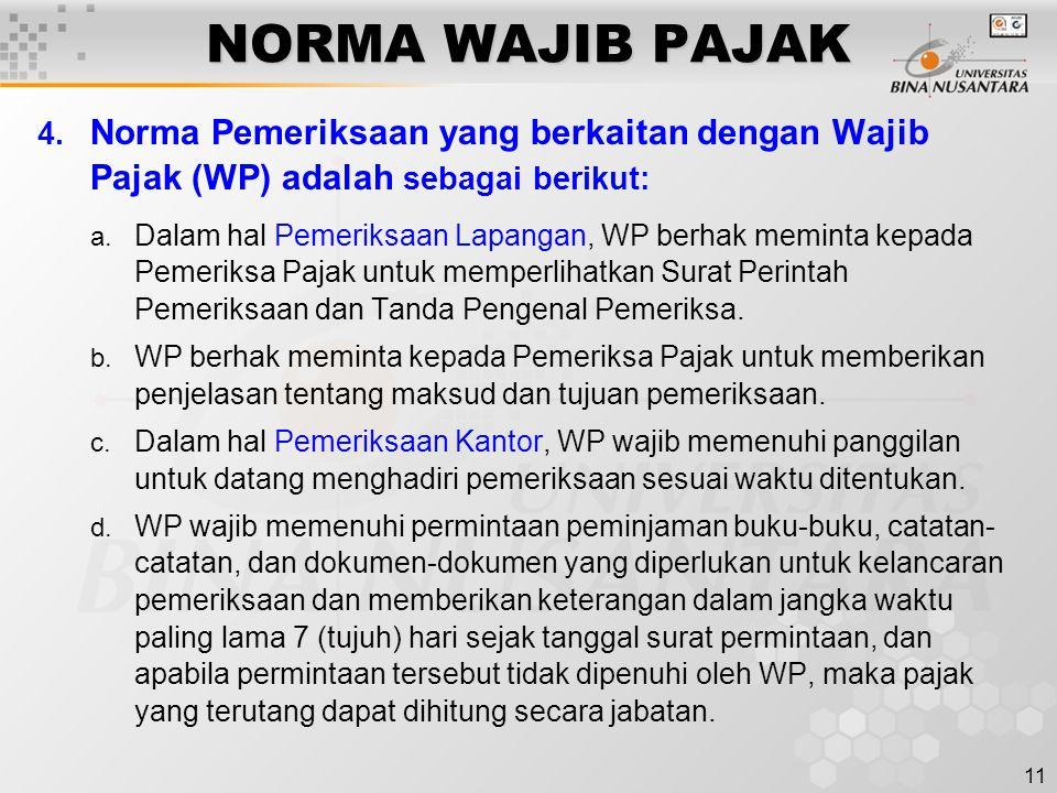 NORMA WAJIB PAJAK Norma Pemeriksaan yang berkaitan dengan Wajib Pajak (WP) adalah sebagai berikut: