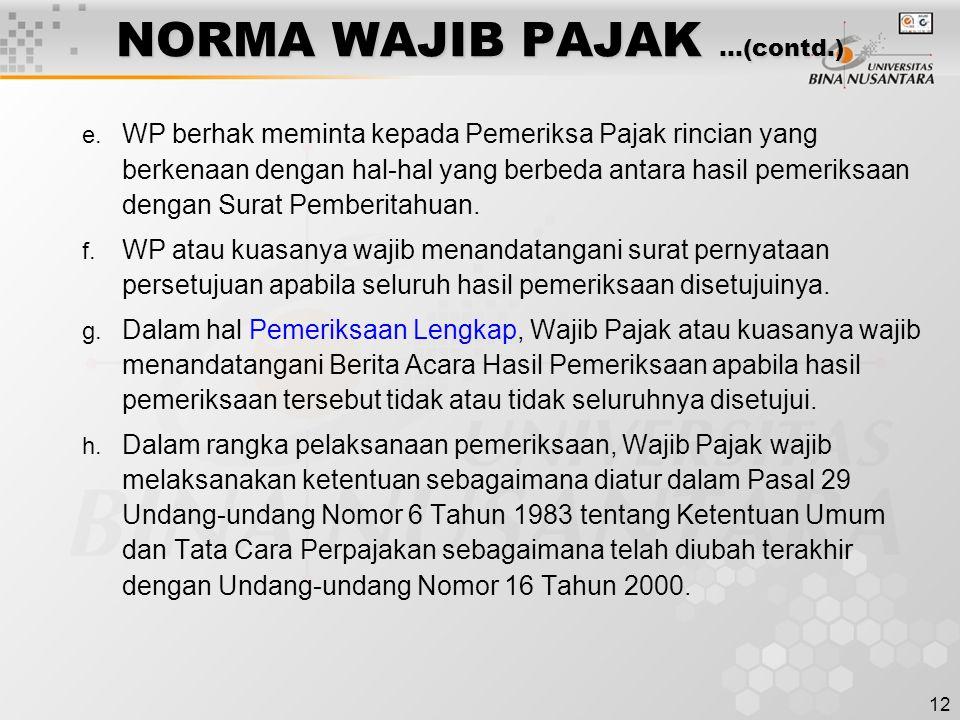 NORMA WAJIB PAJAK …(contd.)
