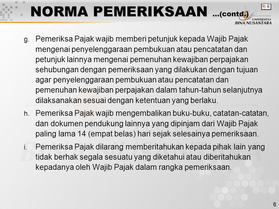 NORMA PEMERIKSAAN …(contd.)