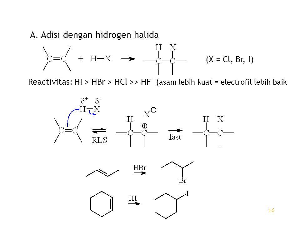 A. Adisi dengan hidrogen halida