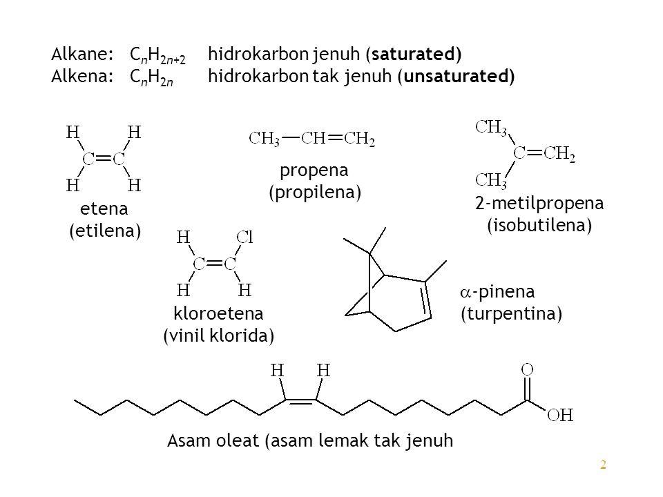 Alkane: CnH2n+2 hidrokarbon jenuh (saturated)