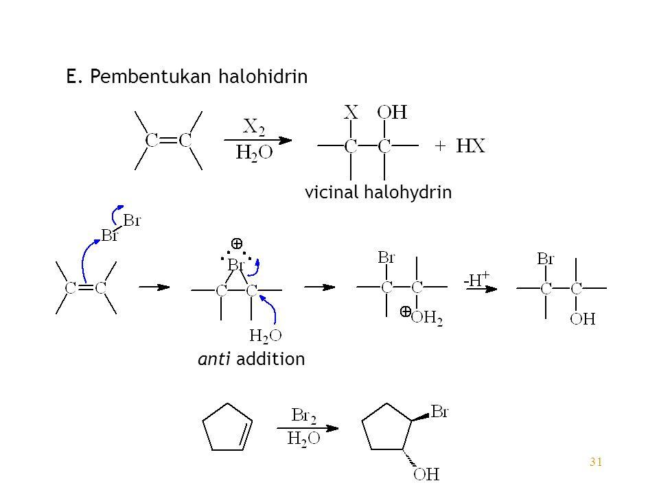 E. Pembentukan halohidrin