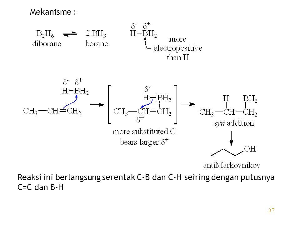 Mekanisme : Reaksi ini berlangsung serentak C-B dan C-H seiring dengan putusnya C=C dan B-H