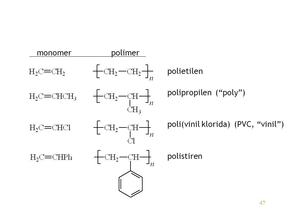 monomer polimer polietilen polipropilen ( poly ) poli(vinil klorida) (PVC, vinil ) polistiren