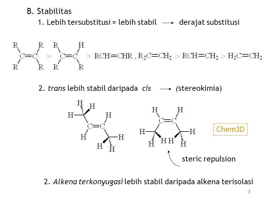 B. Stabilitas 1. Lebih tersubstitusi = lebih stabil derajat substitusi