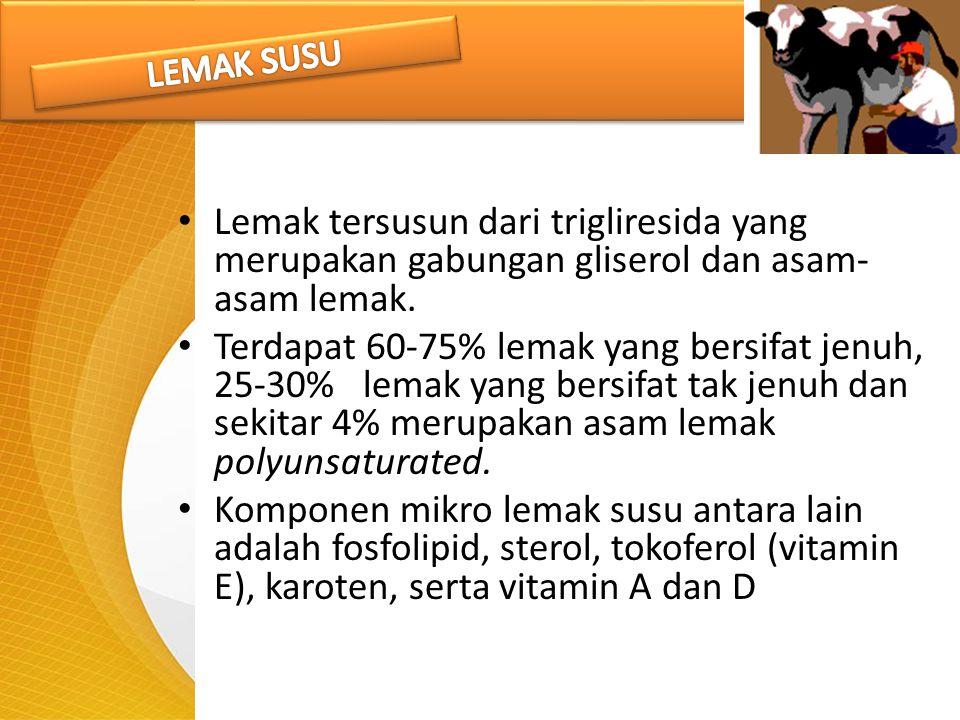 LEMAK SUSU Lemak tersusun dari trigliresida yang merupakan gabungan gliserol dan asam- asam lemak.