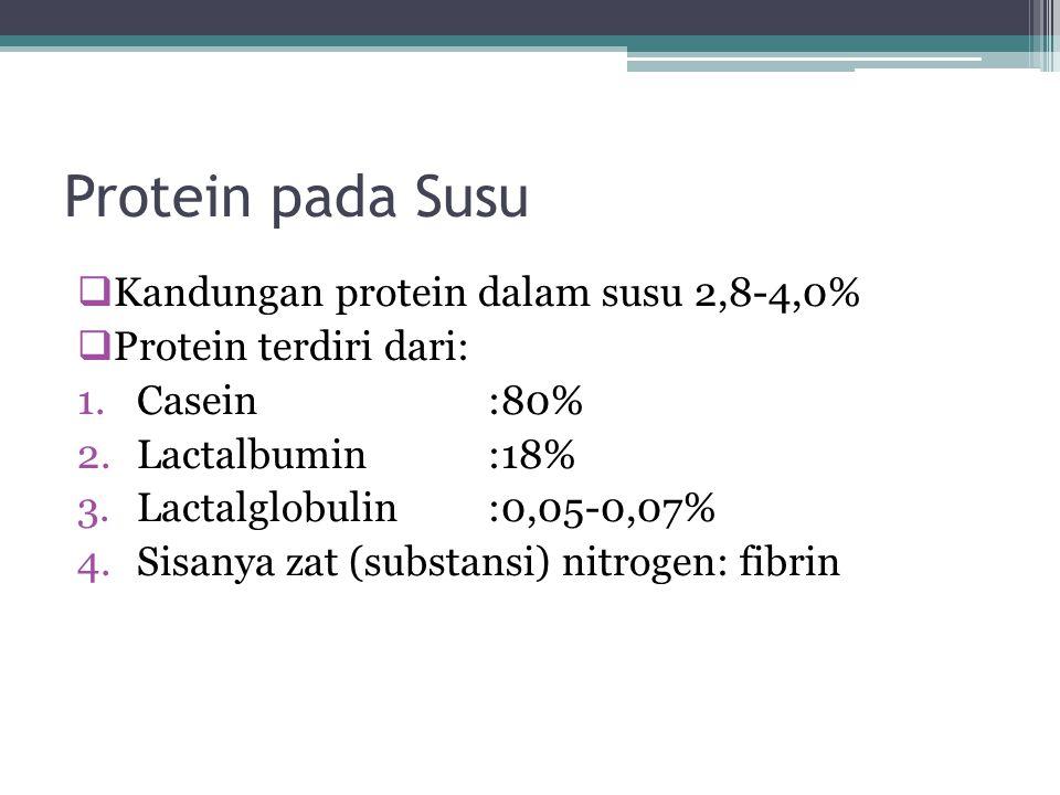 Protein pada Susu Kandungan protein dalam susu 2,8-4,0%