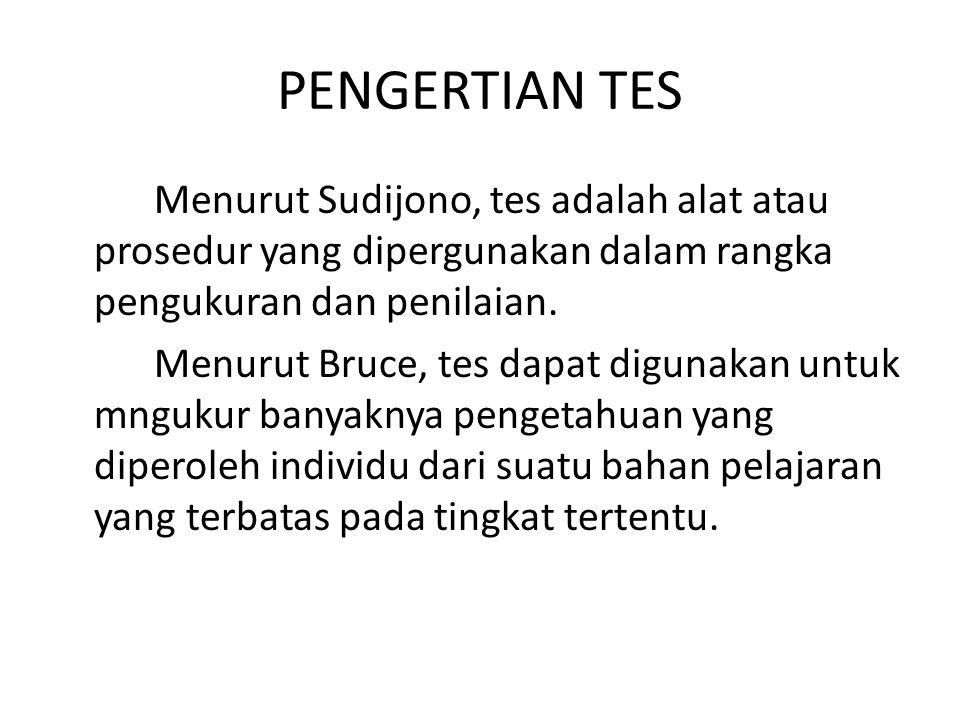 PENGERTIAN TES