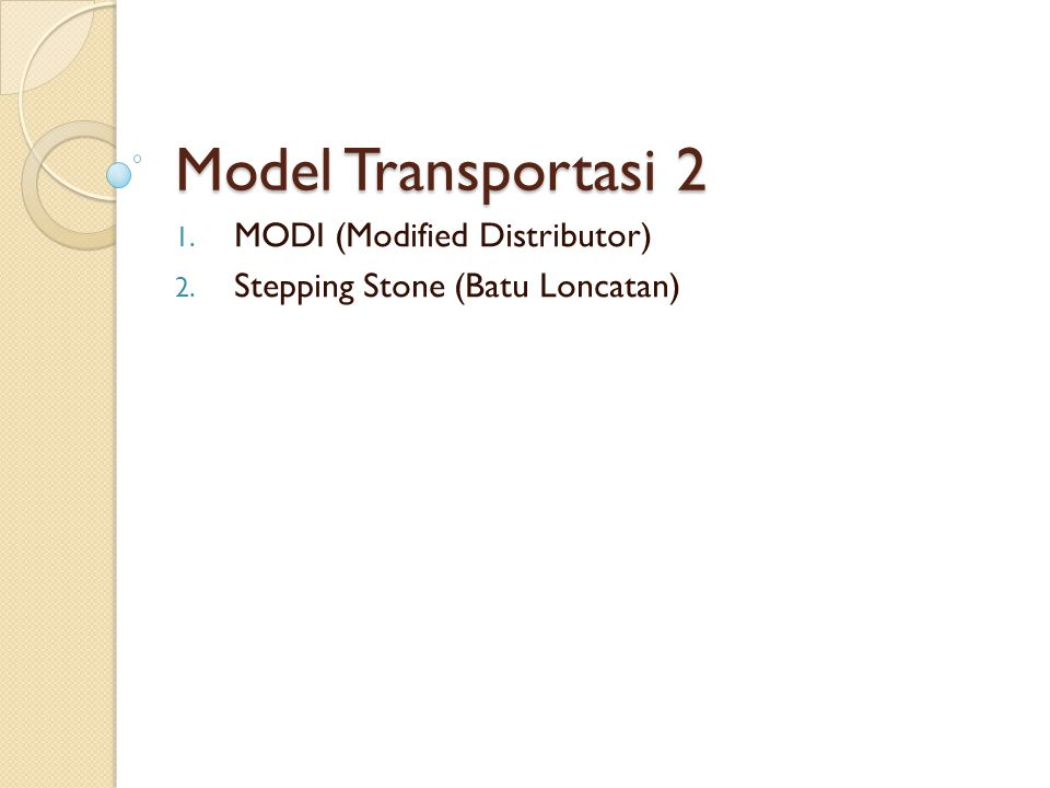MODI (Modified Distributor) Stepping Stone (Batu Loncatan)
