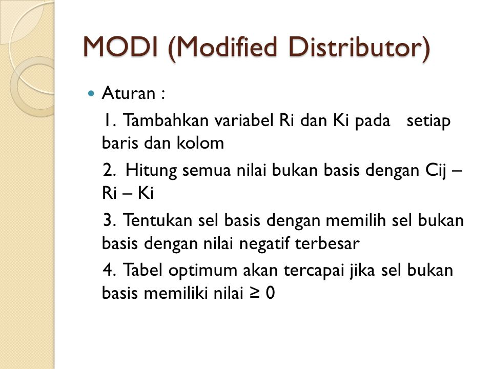 MODI (Modified Distributor)
