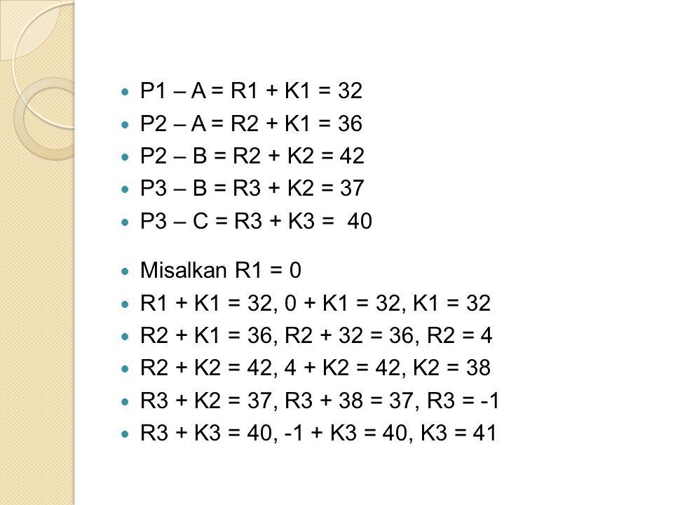 P1 – A = R1 + K1 = 32 P2 – A = R2 + K1 = 36. P2 – B = R2 + K2 = 42. P3 – B = R3 + K2 = 37. P3 – C = R3 + K3 = 40.