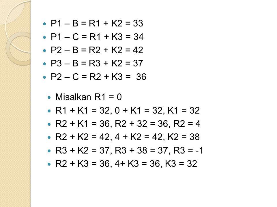 P1 – B = R1 + K2 = 33 P1 – C = R1 + K3 = 34. P2 – B = R2 + K2 = 42. P3 – B = R3 + K2 = 37. P2 – C = R2 + K3 = 36.