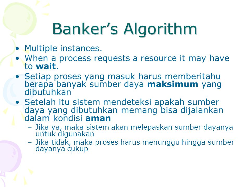 Banker's Algorithm Multiple instances.