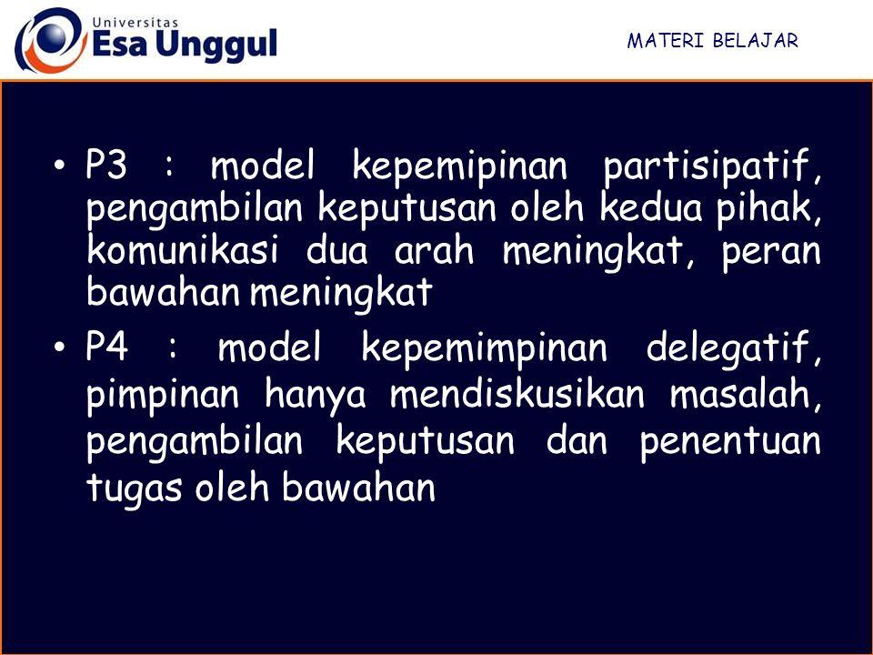 MATERI BELAJAR P3 : model kepemipinan partisipatif, pengambilan keputusan oleh kedua pihak, komunikasi dua arah meningkat, peran bawahan meningkat.
