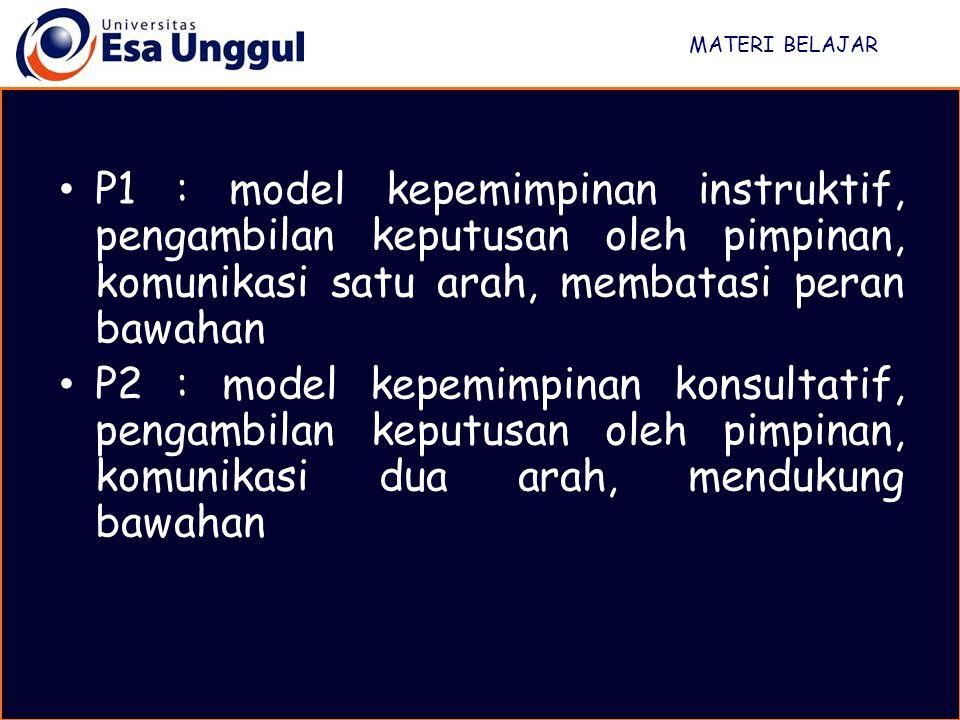 MATERI BELAJAR P1 : model kepemimpinan instruktif, pengambilan keputusan oleh pimpinan, komunikasi satu arah, membatasi peran bawahan.