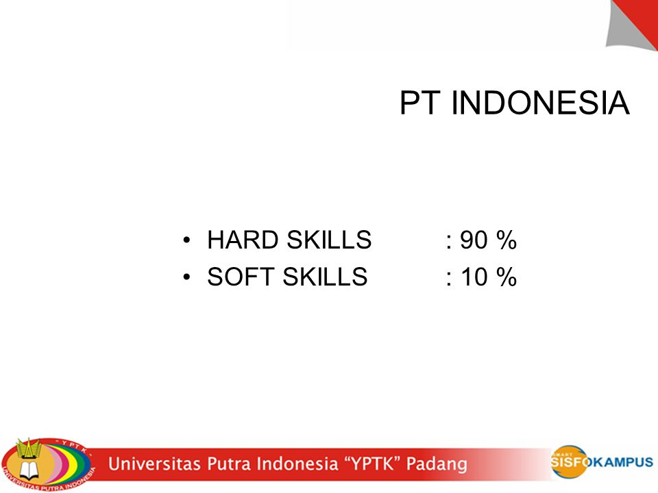 PT INDONESIA HARD SKILLS : 90 % SOFT SKILLS : 10 %